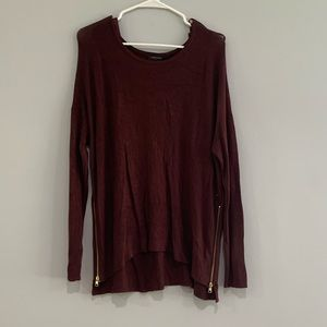 Maroon Sweater with Zipper
